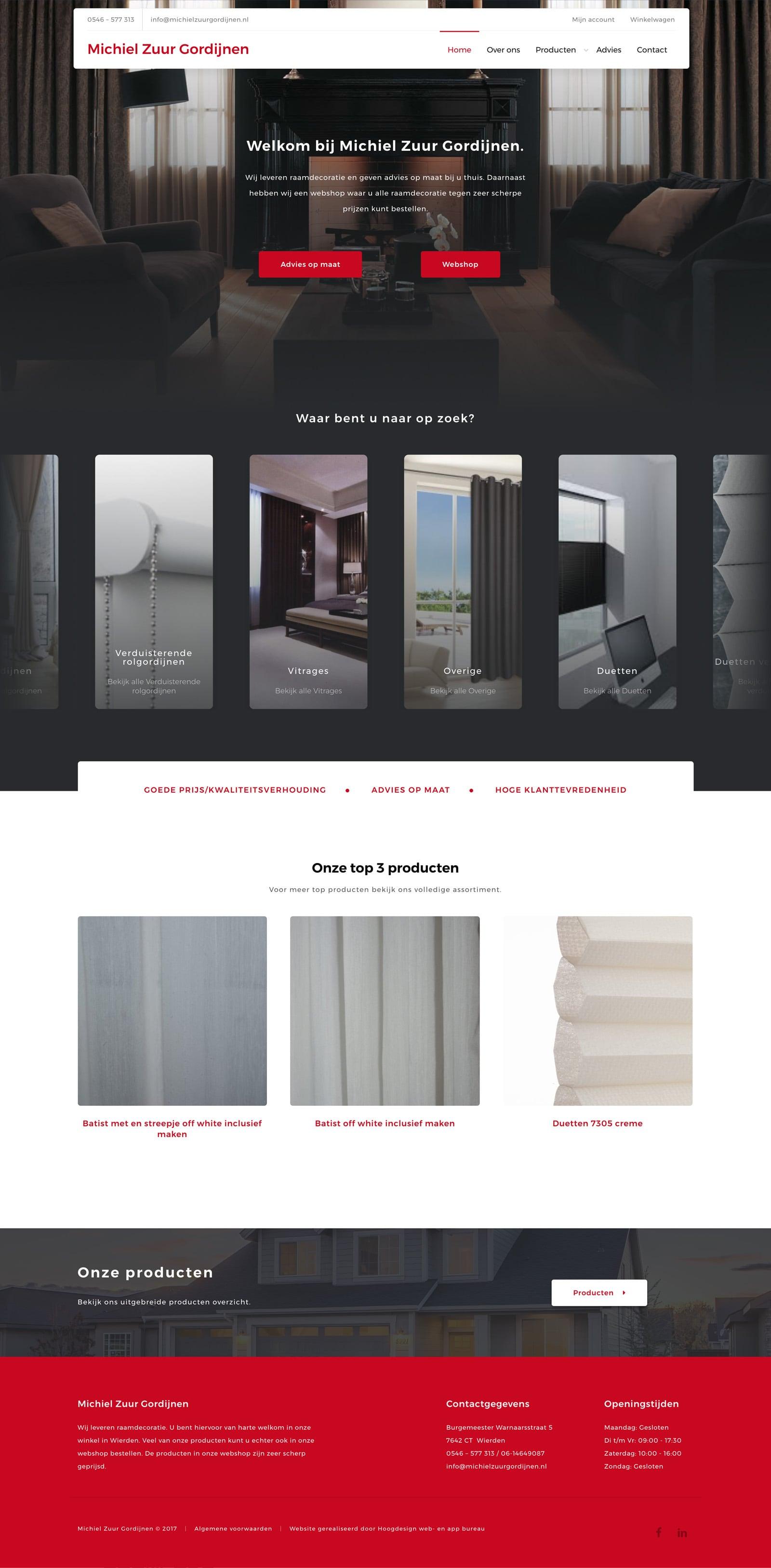 Michiel Zuur Gordijnen WordPress Woocommerce webshop - Hoogdesign